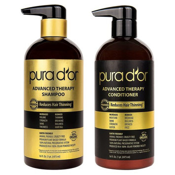 PURA D'OR Advanced Therapy System Shampoo & Conditioner Reduces Hair Thinning for Thicker Head of Hair, Infused with Premium Organic Argan Oil & Aloe Vera, 16 Fl Oz [Combo (Shampoo & Conditioner)]