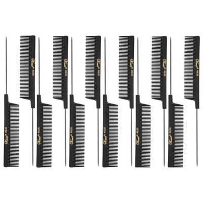 Krest 4630 8' Weaving/ Foiling, Coarse Tooth Rattail Comb (Stainless Steel Pin) - Black - SB-K4630-BLK