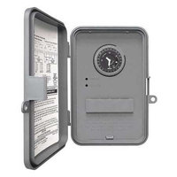 Intermatic WHAVQ4 Timer, Auto Voltage 24-Hour DPDT Water Heater Timer Mechanical Switch - Grey
