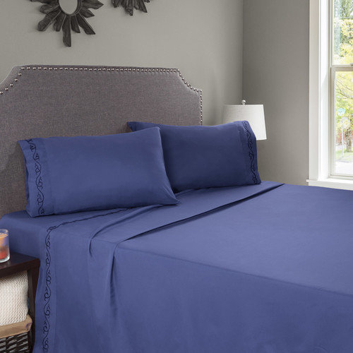 4pc Hypoallergenic, Wrinkle Resistant Embroidered Brushed Microfiber Sheets Set by (Queen) (Navy) by Somerset Home