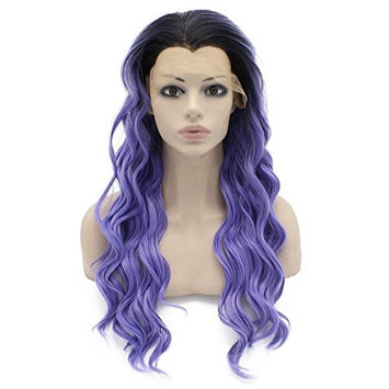 Mxangel Long Wavy Ombre Black Purple Synthetic Lace Front Wig Half Hand Tied Heat Resistant Fiber Hair Ombre Wig Natural