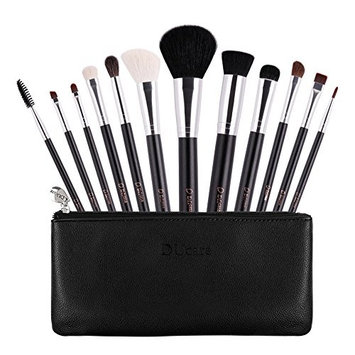 Ducare 12 Piece Makeup Brushes Set Goat Pony Hair Professional with Leather Bags