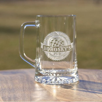 Crystal Imagery Personalized with name hops design on beer mugs (2pcs)