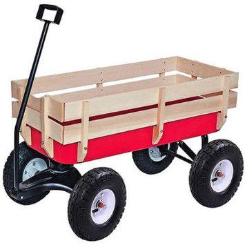 ALEKO TC4201 Kids Wood and Steel Wagon All-Terrain Pulling Play Cart Wagon Stroller, Red