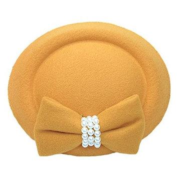 SODIAL(R) Bow Small Hat Stewardess Hat Hair Clip, Yellow