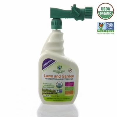 Greenerways Organic Insecticide, Backyard Insect Repellent, Natural Insect Killer Concentrate, USDA Organic, Non-GMO, Non Toxic, Insect Repellant, Outdoor Bug Spray, Mosquito Repellent - 32oz Sprayer