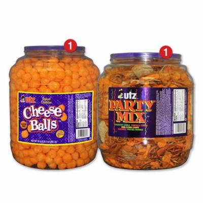 Utz Snack Barrel Variety Pack, Cheeseballs & Party Mix