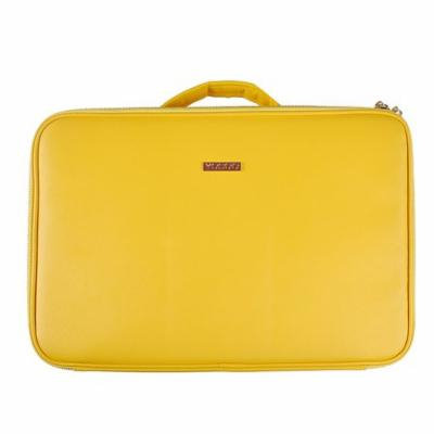Portable Makeup Train Case, Portable Professional Makeup Case Large Size Train Case Makeup Artist Organizer for Make up Tool Attach on the Trolley for Travel (Yellow)