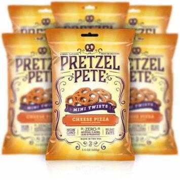Pretzel Pete Mini Twist Pretzels, Cheesy Pizza, 3.5 Oz, Pack of 6