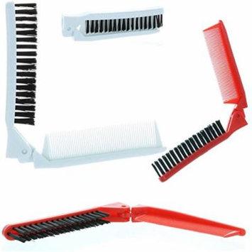2 Folding Hair Compact Travel Brush Comb Pocket Size Car Purse Bag Styling Salon
