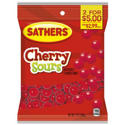 Ferrara Candy Company Sathers Cherry Sours Hard Candy, 12 Ounce Bag