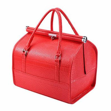 Portable Travel Makeup Train Case Professional Cosmetic Makeup Bag Box Toiletry Wash Organizer (Red)