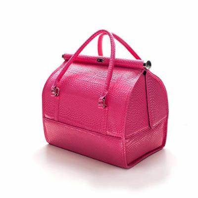 Portable Travel Makeup Train Case Professional Cosmetic Makeup Bag Box Toiletry Wash Organizer (Rose red)