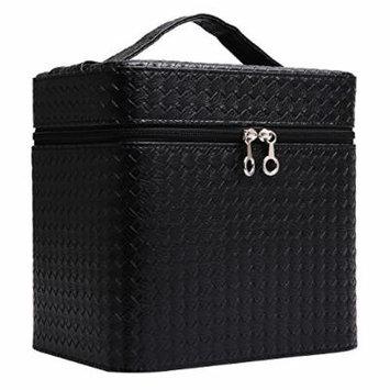 Portable Makeup Train Case Travel Cosmetic Bag Professional Makeup Organizer for Women (Black)