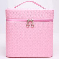 Portable Makeup Train Case Travel Cosmetic Bag Professional Makeup Organizer for Women (Pink)
