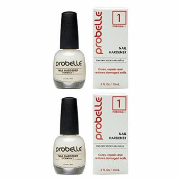 Probelle Nail Hardener Formula 1 - Cures, Repairs and Restores thin, cracked, and peeling nails in weeks (2 Pack)