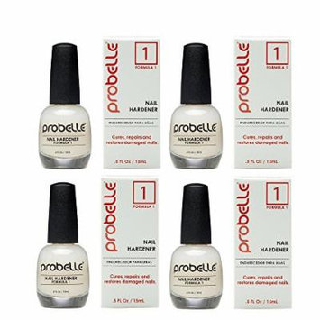 Probelle Nail Hardener Formula 1 - Cures, Repairs and Restores thin, cracked, and peeling nails in weeks (4 Pack)