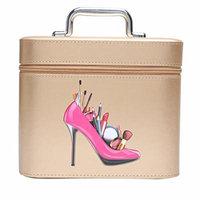 Portable Makeup Train Case Travel Cosmetic Bag Professional Makeup Handbags Organizer insert for Women metal handle (Gold)