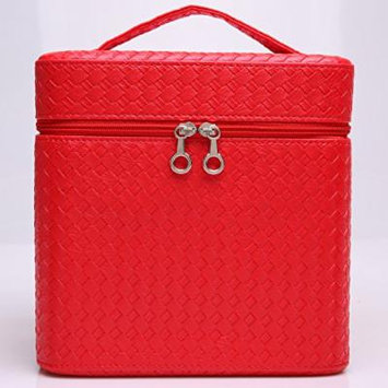 Portable Makeup Train Case Travel Cosmetic Bag Professional Makeup Organizer for Women (Red)