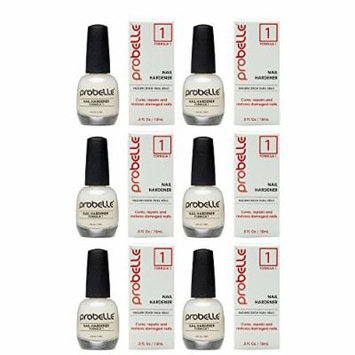 Probelle Nail Hardener Formula 1 - Cures, Repairs and Restores thin, cracked, and peeling nails in weeks (6 Pack)