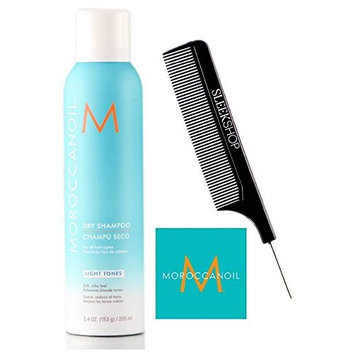 MoroccanOil DRY SHAMPOO for ALL HAIR TYPES, Soft, Silky Finish - No Dull Residue (with Sleek Steel Pin Tail Comb) (LIGHT TONES - 5.4 oz/205 ml)
