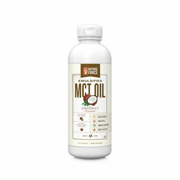 NEW! Emulsified MCT Oil Creamer, Coconut *Best Keto MCT Oil for Mixing in Drinks * Unsweetened – NO Palm Oil, made with Organic Coconuts from the Philippines by Natural Force, 16oz