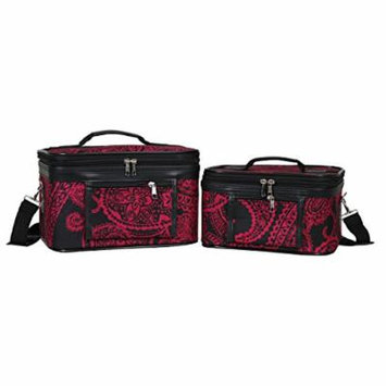 World Traveler Women's 2-Piece Cosmetic Case Set, Black Pink Paisley