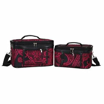 World Traveler Women's 2-Piece Cosmetic Case Set, Black Pink Paisley