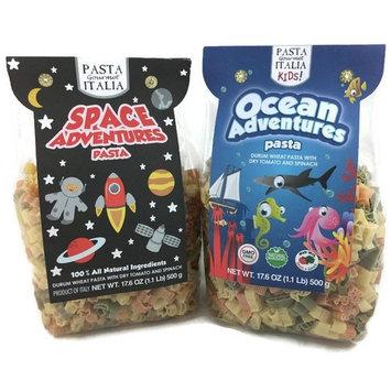 Pasta Gourmet Italia Fun Imported Shapes for Kids Pasta Bundle: 2 Items, Ocean Adventures, 17.6 oz and Space Adventures 17.6 oz