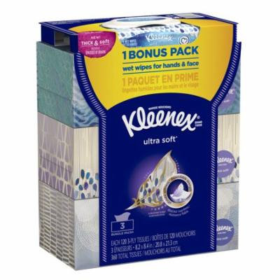 Kleenex Ultra Soft Facial Tissues,120 sheets per box, 3 pack + Bonus Wipes