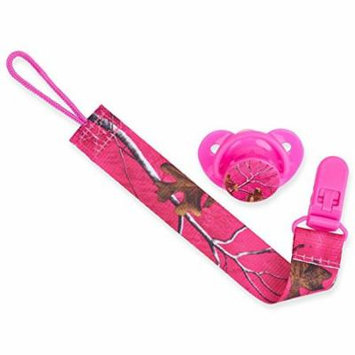 Realtree Orthodontic BPA Free Pacifier and Clip Set (Pink, 0-6 Months)