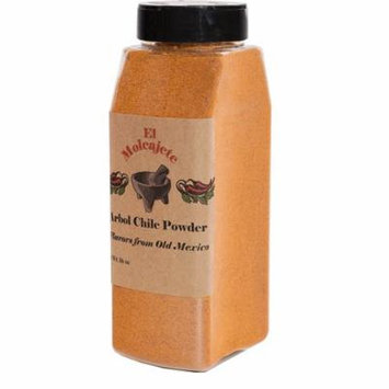Arbol Chile Powder El Molcajete Brand for Sauces, Salsa, Pasta, Chili, Meat, Pizza, Potatoes, Vegetables, Soups, Stews , Chicken and BBQ (16 oz)
