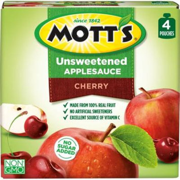 Mott's Unsweetened Applesauce Pouches, Cherry, 3.2 Oz, 12 Count (Pack of 6)