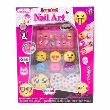 Hot Focus Scented Nail Art Kit - Emoji Girls Non Toxic Nail Polish and Press on Nails(HFC-040BLEM)
