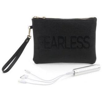 Under One Sky - Women's Tech Battery Charging Clutch Pouch Handbag - Stripe, Black