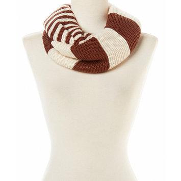 Amtal Women Two Color Stripes & Block Design Knit Winter Infinity Scarf