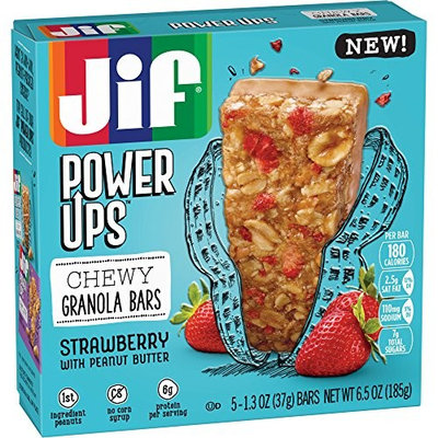 Jif Power Ups Strawberry With Peanut Butter Chewy Granola Bars, 6.5 Oz [Strawberry]