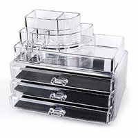 Clear Acrylic Cosmetics Makeup and Jewelry Organizer 3 Drawers with 8 Compartments Top Section