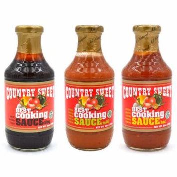 Country Sweet Sauce - Cooking and Finishing Sauce Variety Pack (Mild, Hot, BBQ)