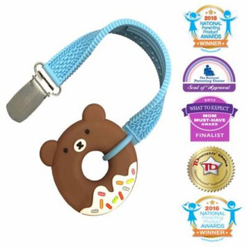Silli Chews Best Teething You for Babies, Infant, and Toddlers Mini Brown Bear Frosted Sprinkle Donut Teether and No Throw Pacifier Clip Strap Set For Bite, Molars, and Drool