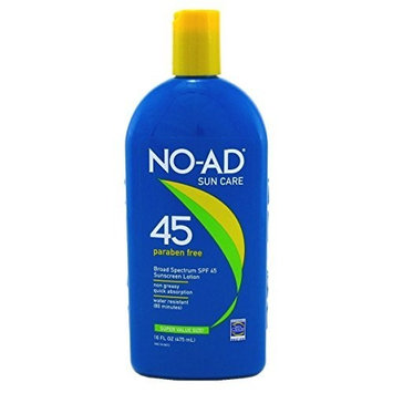 No-Ad Spf45 Sunscreen Lotion 16oz (2 Pack) by No-Ad Suntan