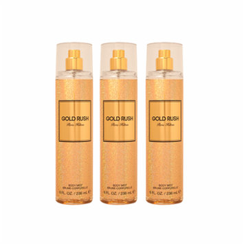 Gold Rush Paris Hilton For Women Body Mist 8.0 oz (PACK OF 3)