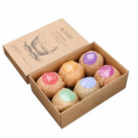 Pack of 6 Organic Bath Bombs Rose Red Smell Oil Sea Salt Handmade Bath Bombs WSY