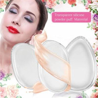 2Pcs Pack Clear Silicone Makeup Sponge Washable Clear Silisponge Cosmetic Puff Pad for Cream Liquid Foundation Applicator Essential Cosmetic Beauty Tools Blender