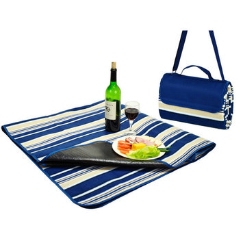 Picnic at Ascot - Fleece Picnic Blanket with Tote - Blue Stripe