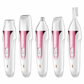 Painless Hair Remover for Women 5 in 1 Rechargeable Razors Portable Waterproof Hair Removal Epilator for Face/Legs/Arms/Eyebrow/Nose/Bikini Trimmer Body Shaver for Ladies (Pink)