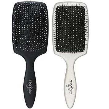 Pro Detangling Hair Brush Set (Black&White) by TION | Damp Brush Good for wet and dry hair