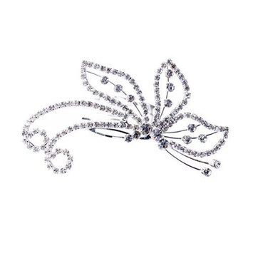ACCESSORIESFOREVER Women Bridal Wedding Jewelry Crystal Rhinestone Beautiful Side Butterfly Hair Comb Pin