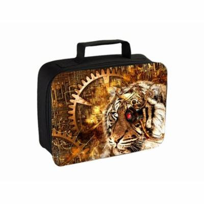 Steampunk Tiger Design Small Travel Toiletry / Cosmetic Case with 3 Compartments and Detachable Hanger