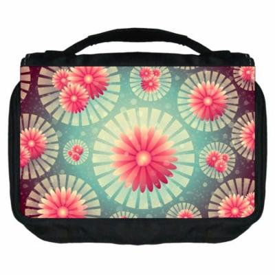 Small Travel Toiletry / Cosmetic Case with 3 Compartments and Detachable Hanger Retro Flower Circles 3